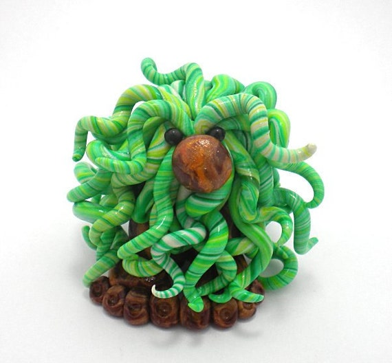 Polymer Clay Figurine Bush Buddy Green Tree Sprite