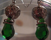 CLEARANCE: Green Teardrop Bead with Filigree Ball Earrings
