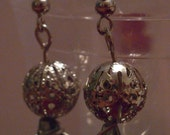 CLEARANCE: Gray Teardrop Bead with Filigree Ball Earrings