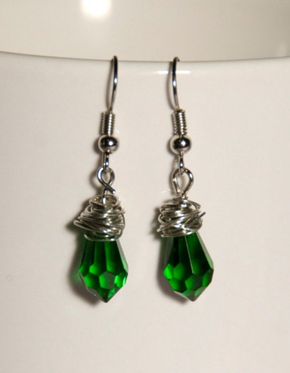 CLEARANCE Emerald City Teardrops - wire wrapped drop earrings