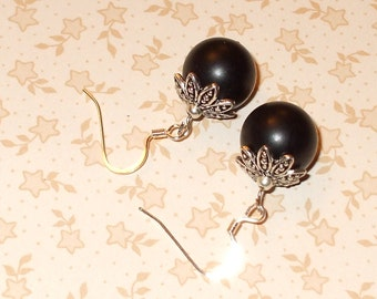 Black glass pearl earrings