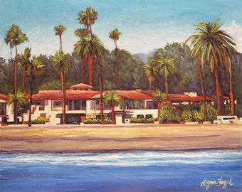 Santa Barbara, Giclee Print beveled double mat, East Beach, a place for lots of fun
