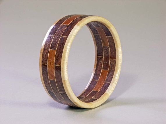 items similar to bangle bracelet segmented woodturning
