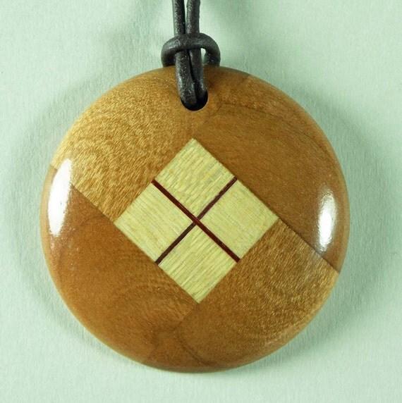 Wood Pendant Necklace Woodturning Made Of Cherry Amp Maple