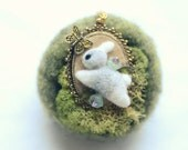 Needle felted bunny catching butterfly pendant necklace, spring & Easter item