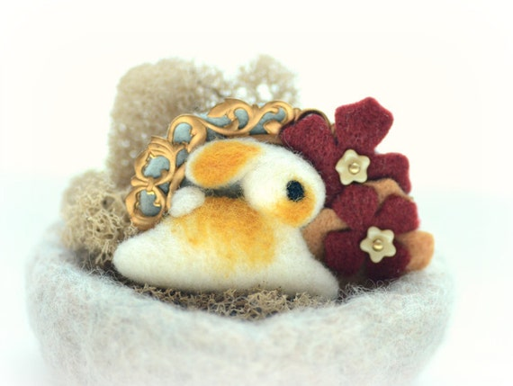Needle felted wool bunny rabbit in flower wonderland pin / brooch, burgundy felt flower, tt team, whimsical jewelry