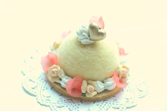 Dome shaped needle felted wool cake, yellow & peach color, fake pastry food minature
