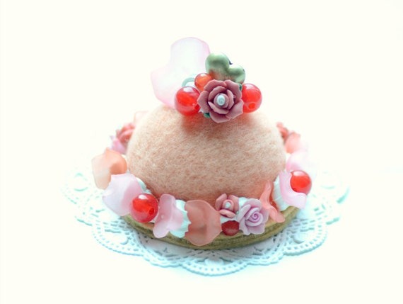 Wool sculpture felt food cake ornament / home decor, needle felted cake, food miniature, pink white cream with cherries, gift under 15