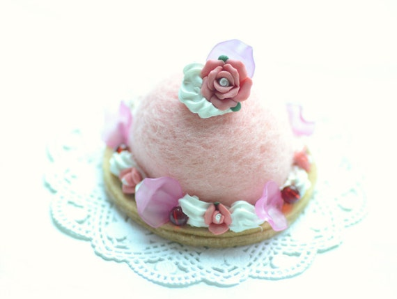 Dome shaped needle felted wool cake, pink color red rose, fake pastry food minature