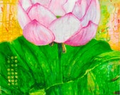 7 x 10 inches, Lotus Bloom, Art Print, pink and green, lotus blossom flower