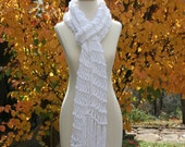 CIJ Sale Extra- Long Knitted Scarf With Fringe - White