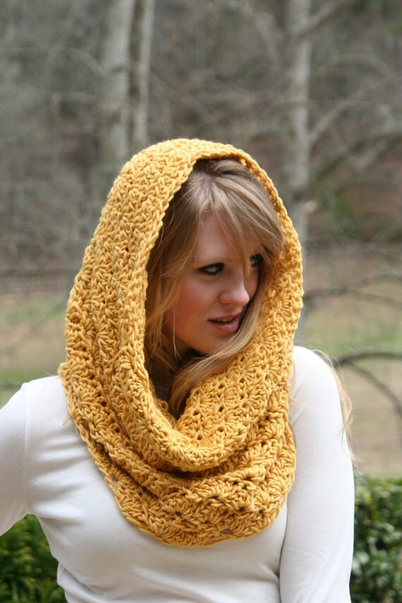 Chunky Cowl Scarf Crochet Hood Scarf Snood Capelet The Sunrise Merino Wool and Silk blend