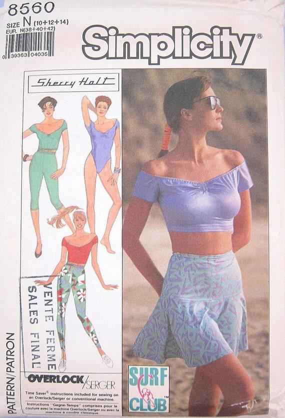 SUMMER SALE Vintage 1980s Sexy Bodysuit Pattern Sherry Holt Simplicity 8560 Surf Dance Pants Skirt Top Misses 10 12 14 Bust 31.5 32.5 34 UC