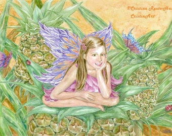 Fairy Art, Pineapple Fairy in Petal  Pink Dress sitting on a Pineapple with Butterflies and Ladybugs Fairy art print,  8 x10 art  print