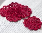 Set of 5 crochet flower appliques Wine red Birthday Decoration Embellishment Wedding