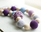 Nursing necklace / Teething necklace - Light blue, Lilac, Lavender, Purple