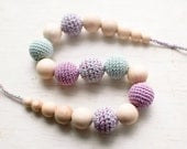 Nursing necklace / Teething necklace - Mint blue, Lilac