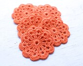 Set of 5 crochet flower appliques Birthday Party Decoration Wedding decoration Embellishment - Orange, Tangerine