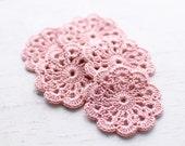 Set of 5 crochet flower appliques Blush rose Pink Pastel Birthday Party Decoration Wedding decoration Embellishment