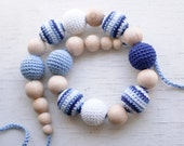 Nursing necklace / Teething necklace / Crochet teething necklace / Crochet nursing necklace - Blue, Light blue, White - Nautical necklace