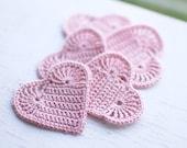 Set of 5 Crochet hearts applique Wedding decoration embellishment Blush rose pink shabby chic