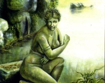 Medusa's Garden, 8x10 LE print from original oil painting, home decor, ooak, fantasy art earthspalette