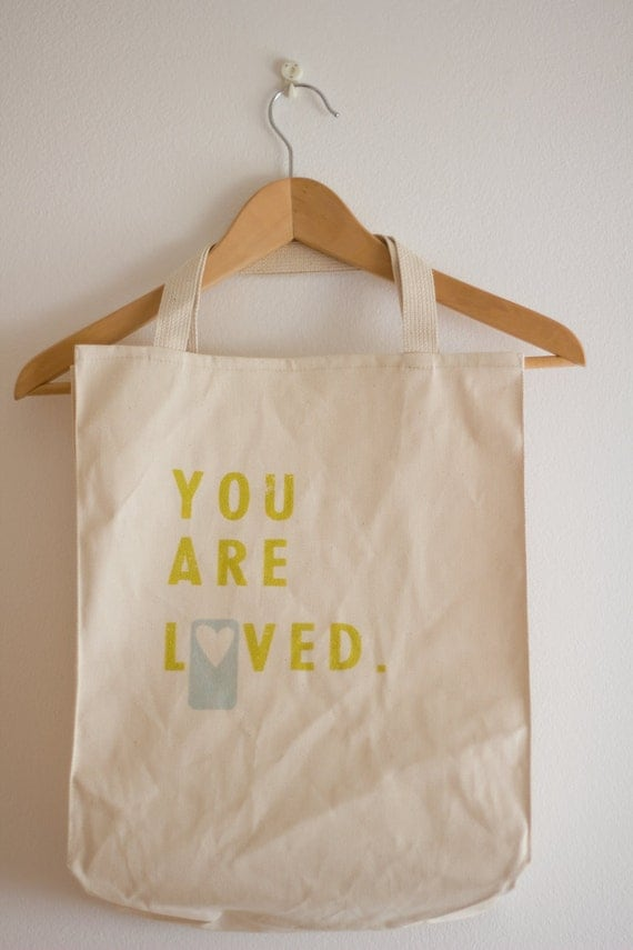 You are Loved - large cotton grocery tote yellow blue heart