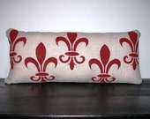 Fleur di Lis Pillow FREE SHIPPING- Stenciled Fleur di Lis Pillow- Decorative Pillow- Accent Pillow- Contemporary Pillow- Modern Pillow