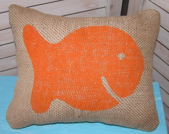 Sm. Burlap Fish Pillow FREE SHIPPING- Decorative Pillow- Childrens Pillow- Burlap Pillows- Goldfish Pillow- Baby Shower Gift- Nursery Pillow
