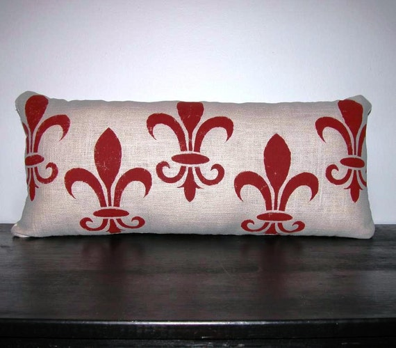 Fleur di Lis Pillow FREE SHIPPING- Stenciled Fleur di Lis Pillow- Decorative Pillow- Accent Pillow- Contemporary Pillow- Modern Pillow