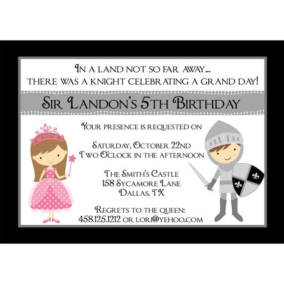 chevalier princesse personnalis e anniversaire invitation. Black Bedroom Furniture Sets. Home Design Ideas