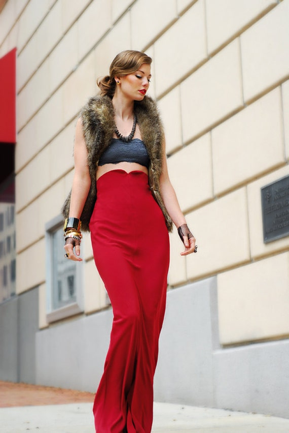 Red high-waist hi lo skirt . CUSTOM
