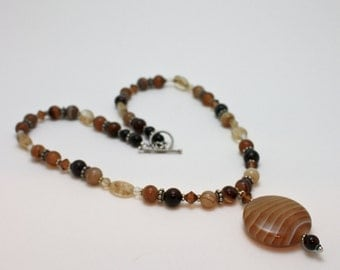 Banded Coffee Onyx Pendant Necklace 3574a