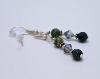 Green Lace Jasper and Swarovski Crystal Earrings 3577b