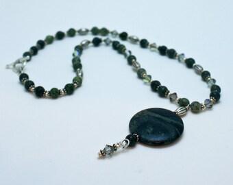 Kambaba and Green Lace Jasper Necklace 3577a