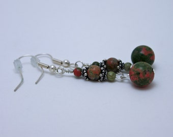 Unakite and Bali Sterling Silver Earrings 3579b