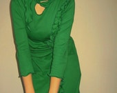 Emerald green  tunic, dress,long sleeves, cotton jersey.