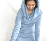 Blue  tunic dress very  long sleeves, cotton jersey.