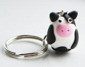Cow Keyring Keychain, Fimo, Polymer Clay