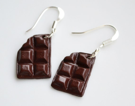Miniature Chocolate Earrings, Fimo, Polymer Clay, Brown or White