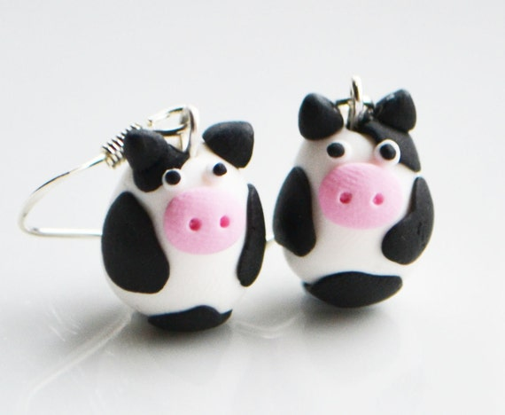 Cow Earrings, Fimo, Polymer Clay