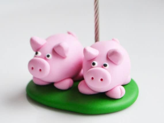 Pig Memo Holder, Polymer Clay, Photo Clip