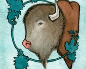 """Buffalo with Ornament -Art Painting Print - Bison - Buffalo Watercolor Painting - 5"""" x 5.5"""" - Bison - Wall Decor"""