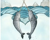 Narwhals in Love Painting - Print  - Watercolor  - 8x10 - daniellelaurenti
