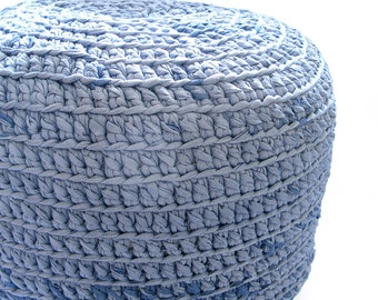 Crocheted Pouf -ottoman, foot stool, floor pillow - YOU CHOOSE COLOR