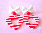 Red and White Heart Bow Dangle Earrings