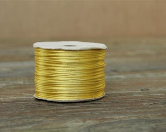 Maze Yellow Rattail Cord, Knotting cord, Satin cord, 2 mm Wide, Beading cord, Packaging cord, Para cord, Mousetail , 10 meters (11 yards)