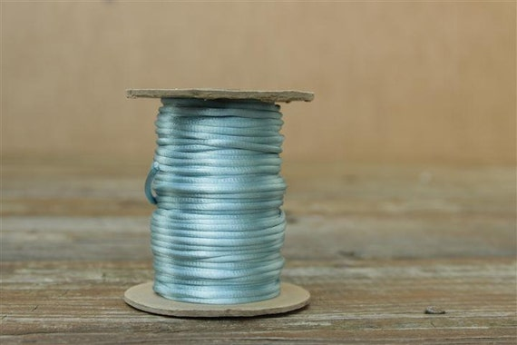 20 Yards Light Blue Satin Rattail Cord - Satincord - 3mm - 1/8 inches Wide