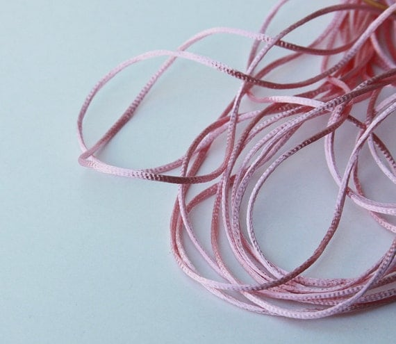 10 Yards Pink Satin Rattail Cord - Satincord - Opening SALE - 1.5 mm - 1/16 Wide - Lightweight