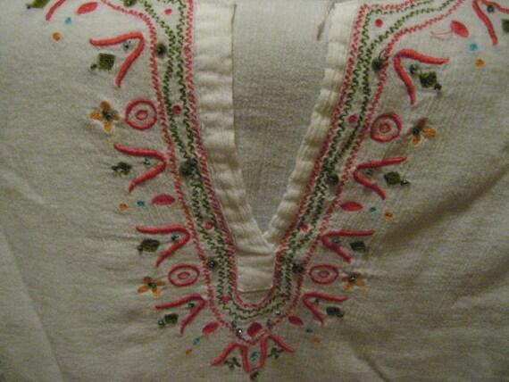 Vintage white cotton gauze tunic for summer fun.  Ladies top. Beach.